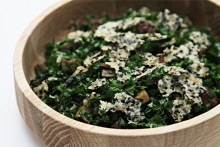 Kale chopped salad with pan-roasted Portobello and Parmesan-sesame crisps