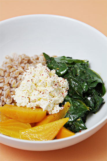 Farro with golden beets and wilted beet greens-homemade ricotta