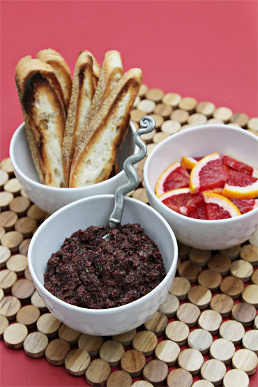 Black olive and blood orange tapenade
