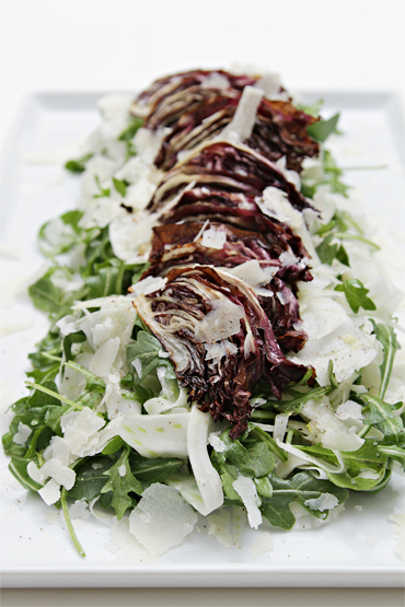 Shaved fennel salad with roasted radicchio and white truffle oil