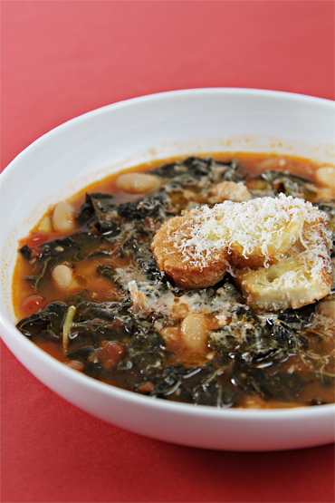 Tuscan kale and cannellini bean soup with garlic crostini
