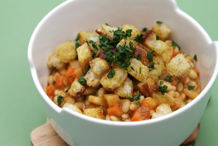 Vegetable cassoulet with sourdough-olive oil croutons