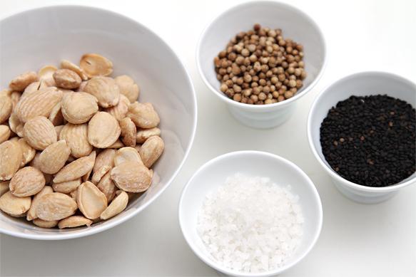Marcona almonds-black sesame seeds-coriander seeds-coarse sea salt