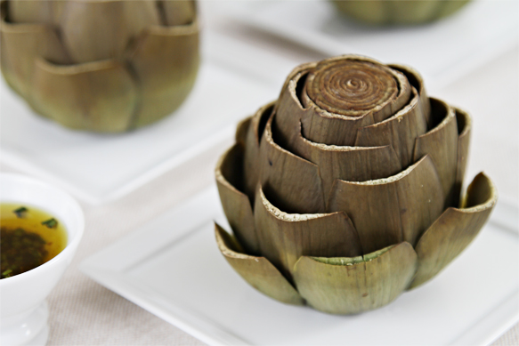 Artichokes with chive vinaigrette
