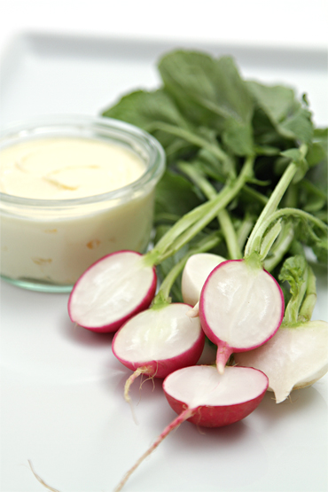 Spring radishes with homemade cultured butter and fleur de sel