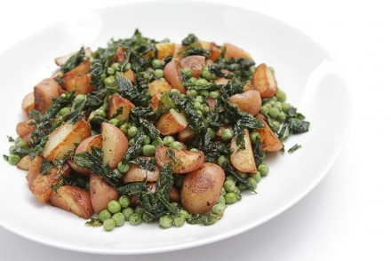 Baby red potatoes with sweet peas and pan-fried mint