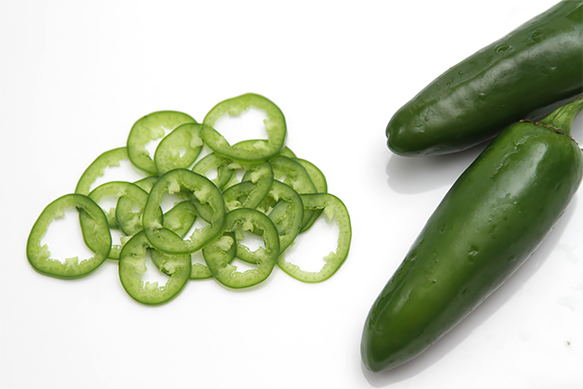Paper-thin jalapeno slices