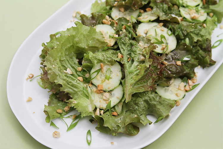 Lola Rosa and cucumber salad with ginger-lime-coconut dressing
