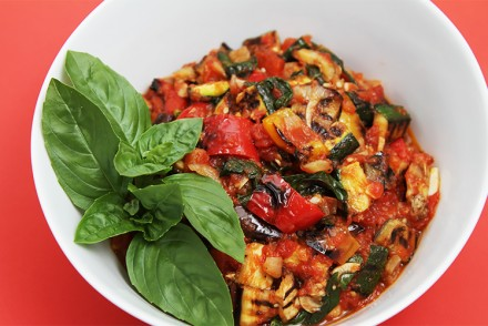 Grilled vegetable ratatouille with fried capers