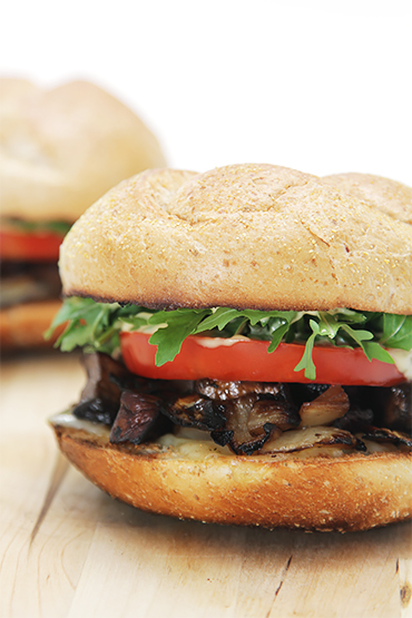 Applewood-smoked mushroom sandwiches with Emmental