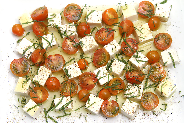 Caprese with Sun Gold cherry tomatoes and mint chiffonade