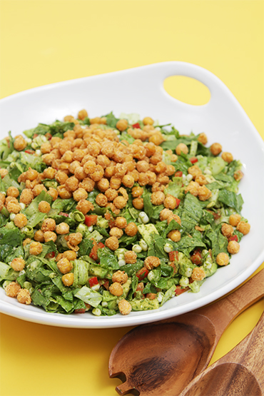 Summer chopped salad with cilantro-lime vinaigrette and crispy chickpea croutons