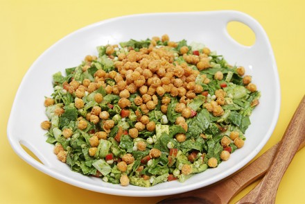 "Summer chopped salad with cilantro-lime vinaigrette and crispy chickpea ""croutons"""