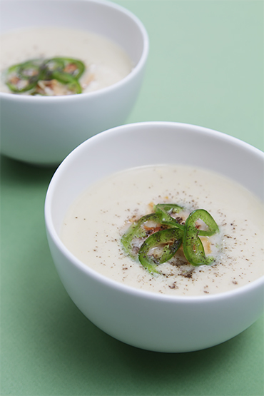 Chilled sweet corn soup with coconut milk
