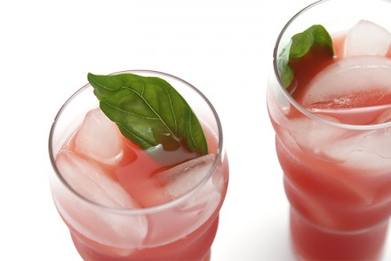 Watermelon agua fresca with basil and cayenne