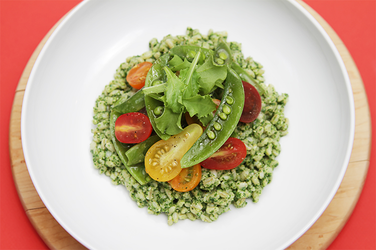 Barley and basil pesto salad with sugar snap peas and heirloom cherry tomatoes