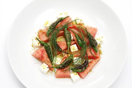 Watermelon salad with pan-roasted shishito peppers and feta