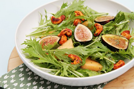 Fresh fig and melon salad with baby mizuna and smoky cashews