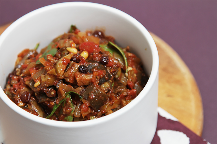 Eggplant caponata The sautéed eggplant, cooked separately, puts this ...