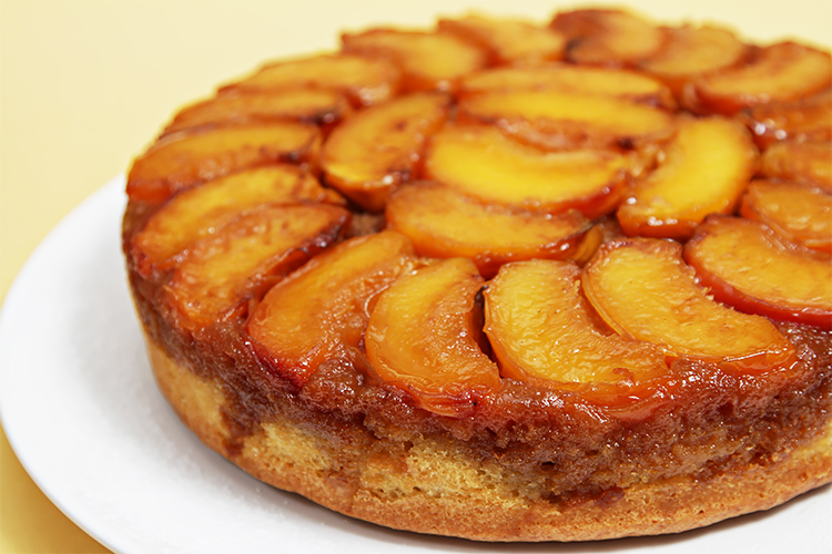peach upside down cake cake with cognac caramel recipe food 6406