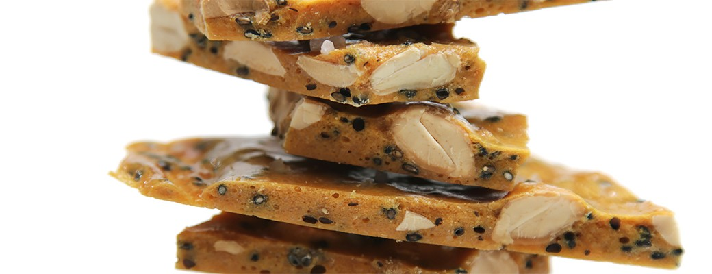 Salted Marcona almond and black sesame brittle with coriander