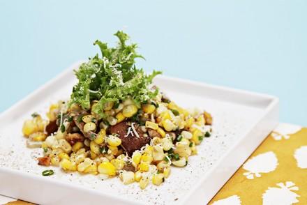Sweet corn salad with shiitake mushrooms, roasted walnuts and white truffle oil