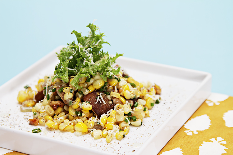 Sweet corn salad with shiitake mushrooms, roasted walnuts and white truffle oil
