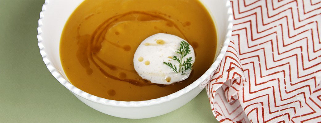 Butternut squash soup with brown butter and nutmeg creme