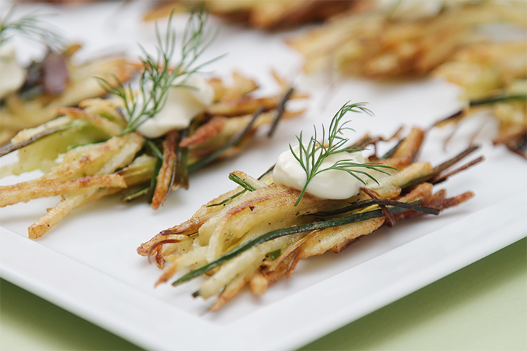 Potato latkes with leeks
