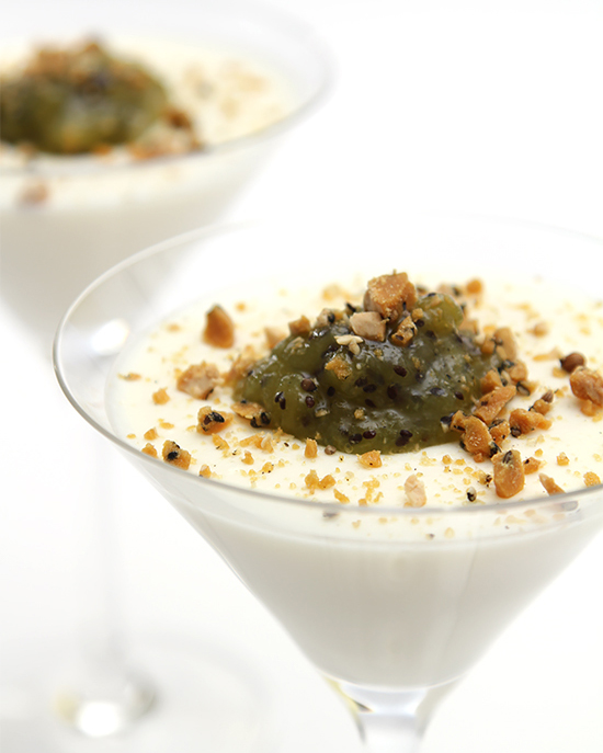 Buttermilk panna cotta with kiwi compote