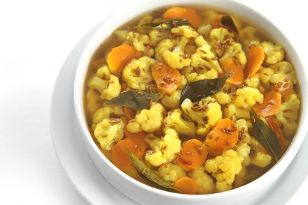 Pickled cauliflower with fresh turmeric and curry leaves