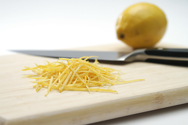 Julienned lemon zest