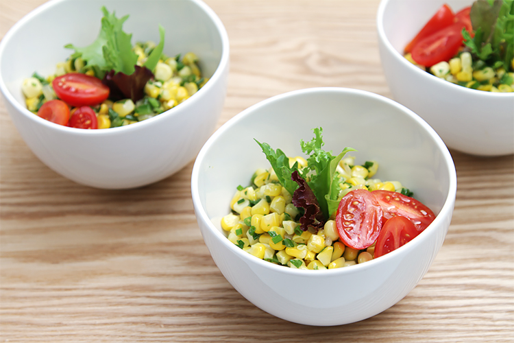 Sweet corn salad with jalapeños and lime-infused oil